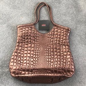 New HOBO brown croc bronze leather large tote bag